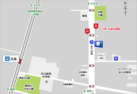 阿倍野区 歯科|ねんばい歯科クリニックのアクセスマップ